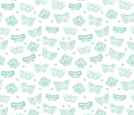 butterfly // block print spring mint girls cute flowers floral botanical fabric by andrea_lauren on Spoonflower - custom fabric