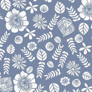 spring // block print butterfly flowers florals
