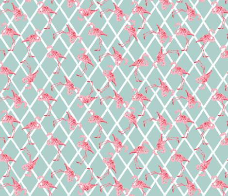 Pink Watercolor Flamingos on Diamond Blue Pattern fabric by lauriekentdesigns on Spoonflower - custom fabric
