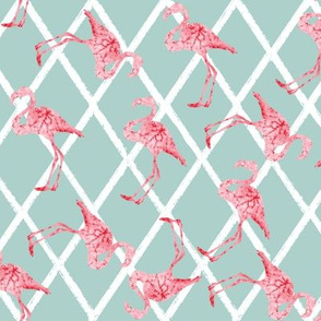 Pink Watercolor Flamingos on Diamond Blue Pattern