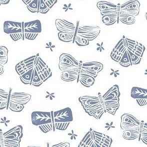 butterfly // block print blue spring flowers florals