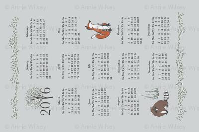 Woodland Friends Calendar in Grey