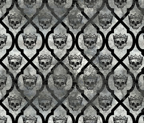 Skull Fresco - gray fabric by thecalvarium on Spoonflower - custom fabric
