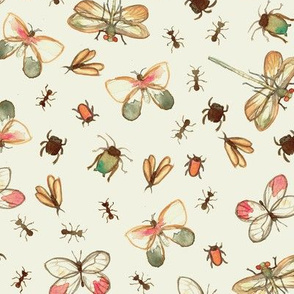 Watercolor Bug Pattern