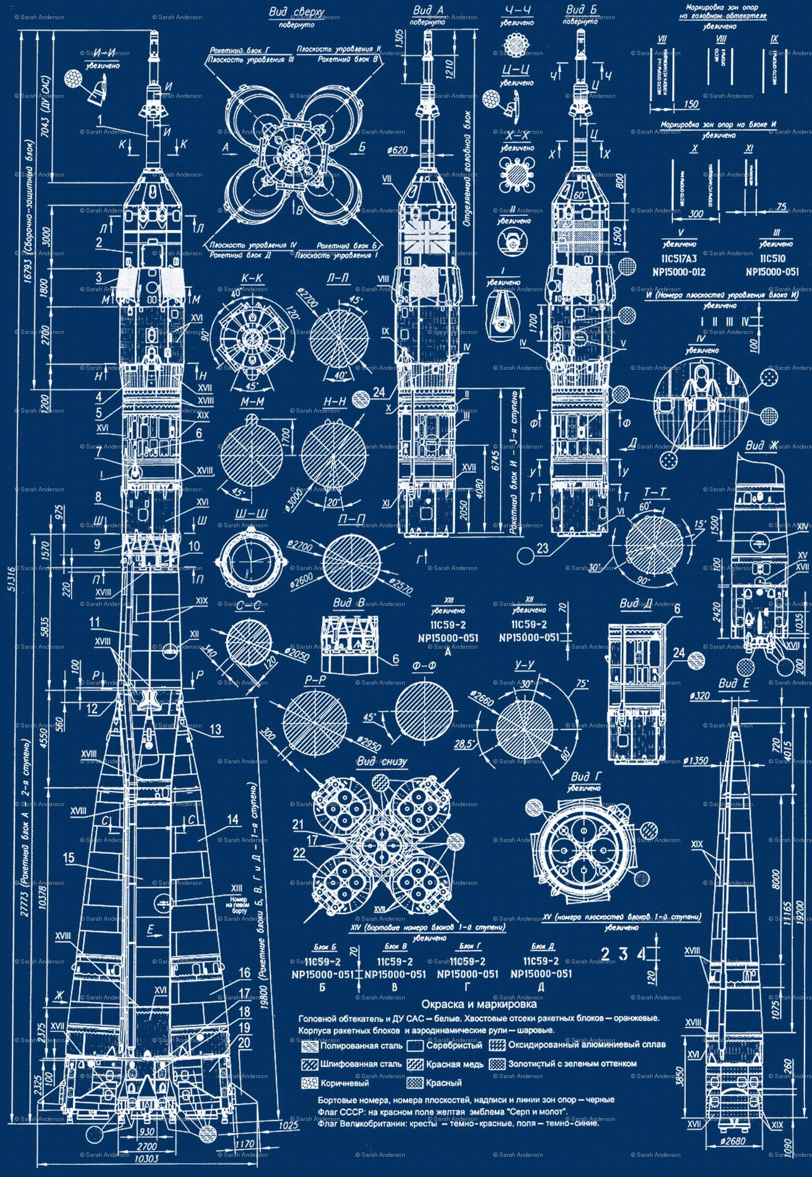 Soyuz Blueprint wallpaper - sharksvspenguins - Spoonflower on