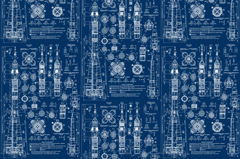 Soyuz Blueprint fabric by sharksvspenguins on Spoonflower - custom fabric