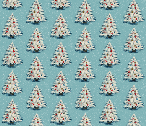 Retro Christmas Tree - A vintage style Yuletide design fabric by hollywood_royalty on Spoonflower - custom fabric