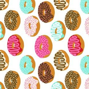 (RR) donuts pink chocolate strawberry yummy food print
