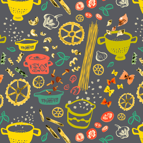 Pasta kitchen with pyrex and herb in charcoal  fabric by canigrin on Spoonflower - custom fabric