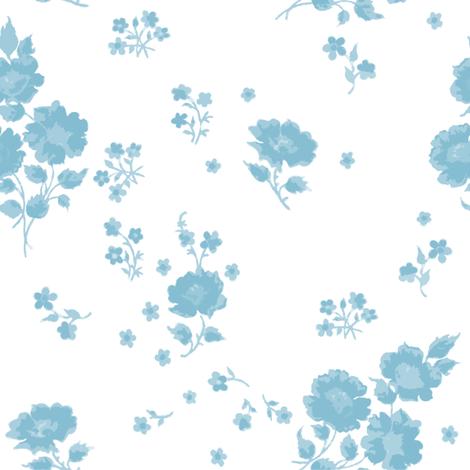 Ingrid in aqua fabric by lilyoake on Spoonflower - custom fabric