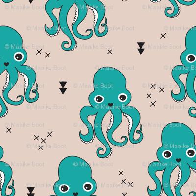 Adorable squid fish octopus geometric ocean theme under water deep sea paradise boys