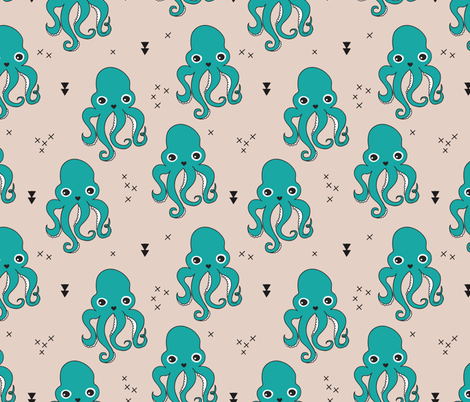 Adorable squid fish octopus geometric ocean theme under water deep sea paradise boys fabric by littlesmilemakers on Spoonflower - custom fabric