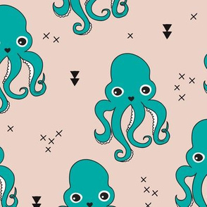 Adorable squid fish octopus geometric ocean theme under water deep sea paradise boys