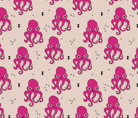 Adorable squid fish octopus geometric ocean theme under water deep sea paradise girls fabric by littlesmilemakers on Spoonflower - custom fabric