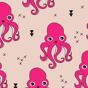 Adorable squid fish octopus geometric ocean theme under water deep sea paradise girls