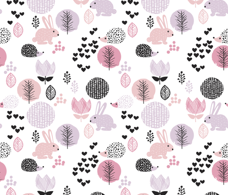 Cute spring animals love girls hedgehog bunny garden easter design fabric by littlesmilemakers on Spoonflower - custom fabric