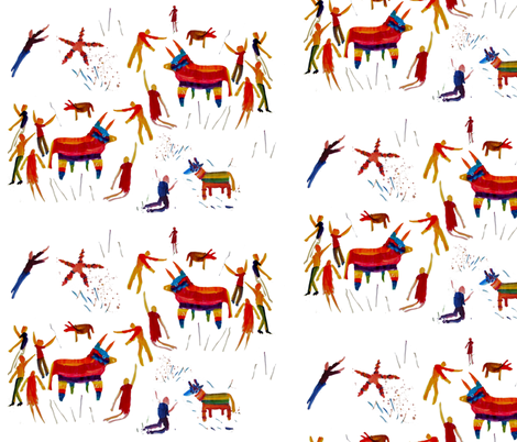 Pinata People fabric by craftylittlehouse on Spoonflower - custom fabric