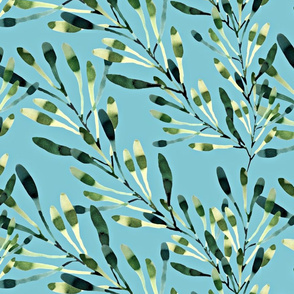 leaves in watercolor on blue