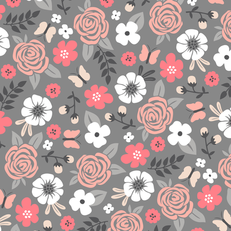 Flowers and Roses Floral on Grey fabric by caja_design on Spoonflower - custom fabric