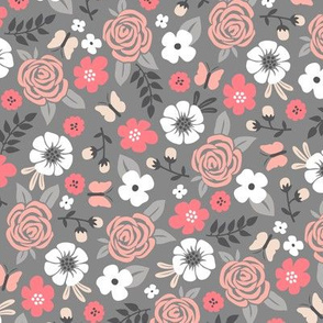 Flowers and Roses Floral on Grey