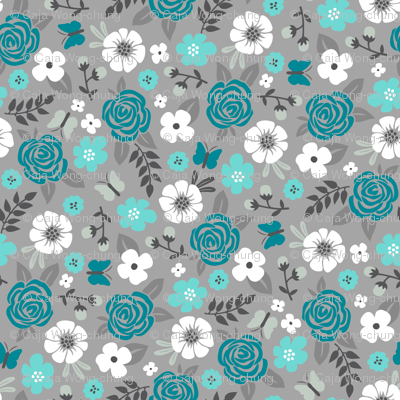 Flowers and Roses Floral in Blue on Grey