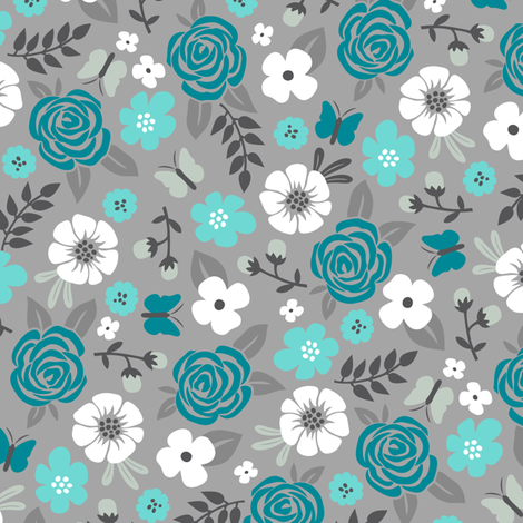 Flowers and Roses Floral in Blue on Grey fabric by caja_design on Spoonflower - custom fabric
