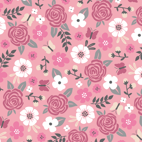 Flowers and Roses  Floral Pink fabric by caja_design on Spoonflower - custom fabric