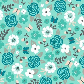 Flowers and Roses Floral Mint Green