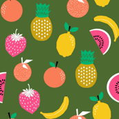 fruits summer tropical pineapple strawberries oranges citrus watermelon kids fruit trendy