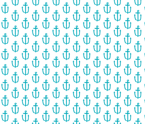 anchor turquoise aqua summer tropical bright kids nursery baby ocean blue fabric by charlottewinter on Spoonflower - custom fabric