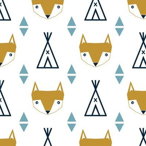 teepee fox custom colors blue navy baby kids