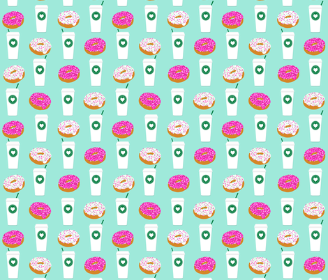 coffee and donuts mint latte sprinkles sweet food breakfast fabric by charlottewinter on Spoonflower - custom fabric