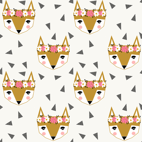 flower fox girly cute pink cream  fabric by charlottewinter on Spoonflower - custom fabric