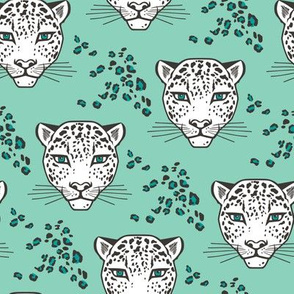 Leopard Head  Big Cat Cats Mint Green