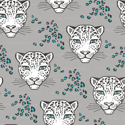 Leopard Head  Big Cat Cats Blue