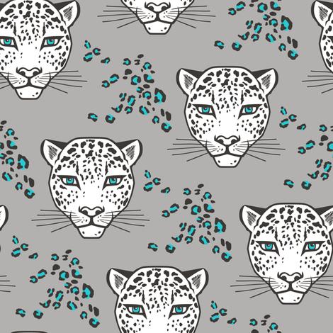 Leopard Head  Big Cat Cats Blue fabric by caja_design on Spoonflower - custom fabric