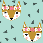 flower crown fox mint cute  girls spring flowers