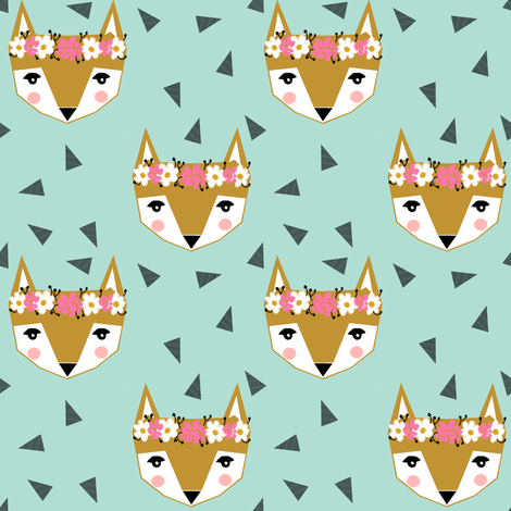 flower crown fox mint cute  girls spring flowers fabric by charlottewinter on Spoonflower - custom fabric
