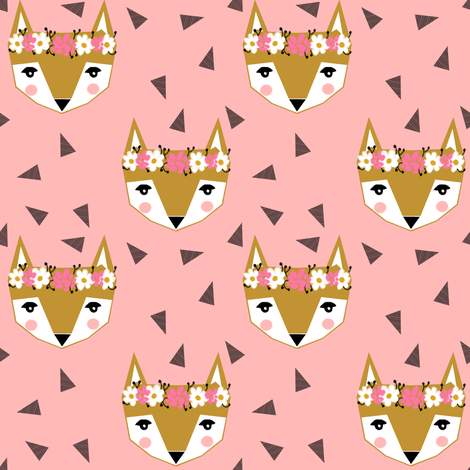 fox flower crown pink spring cute girly nursery baby fabric by charlottewinter on Spoonflower - custom fabric
