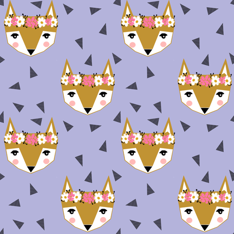 purple fox flower crown spring cute girly baby nursery purple triangles fabric by charlottewinter on Spoonflower - custom fabric