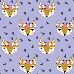purple fox flower crown spring cute girly baby nursery purple triangles