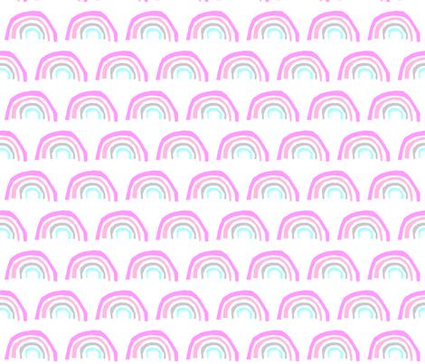 aqua rainbow purple pink grey girly pastel cute rainbow fabric by charlottewinter on Spoonflower - custom fabric