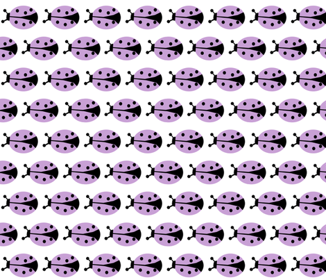 ladybug -  purple lavender pastel baby nursery kids insect animal cute baby design fabric by charlottewinter on Spoonflower - custom fabric