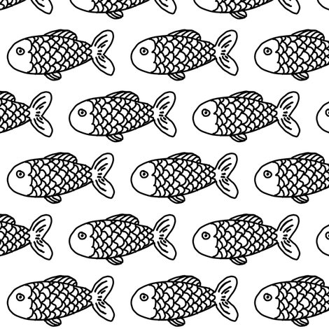 Fish black and white kids baby summer water ocean nursery for Black and white childrens fabric
