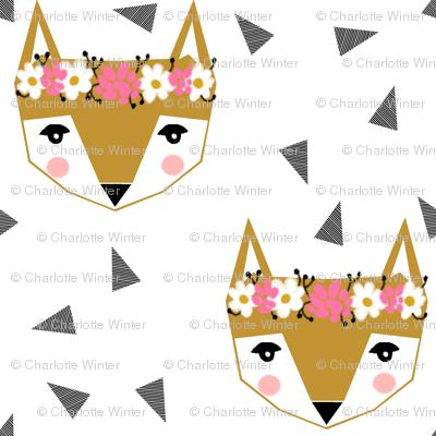 fox flower crown white cute girls baby nursery