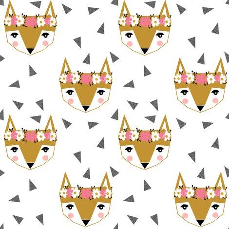 fox flower crown white cute girls baby nursery fabric ...