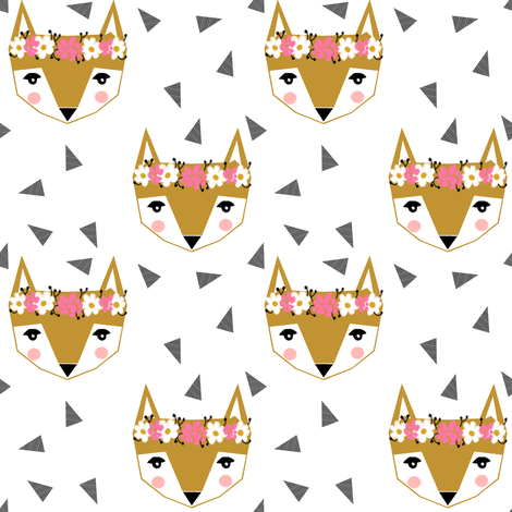 fox flower crown white cute girls baby nursery fabric by charlottewinter on Spoonflower - custom fabric
