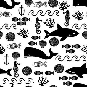 ocean animals shark whale seahorse fish waves anchor kids nursery baby