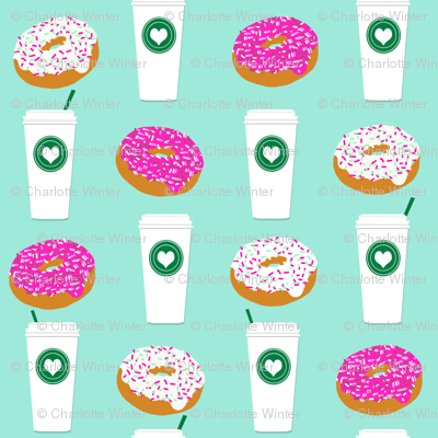 coffee and donuts mint latte sprinkles sweet food breakfast