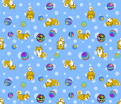Shiba Inu and Temari Balls - blue flavor fabric by bliss_and_kittens on Spoonflower - custom fabric